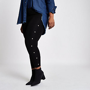 Plus black eyelet side leggings