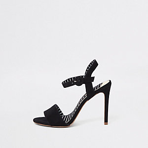 Black two part stiletto heel sandals
