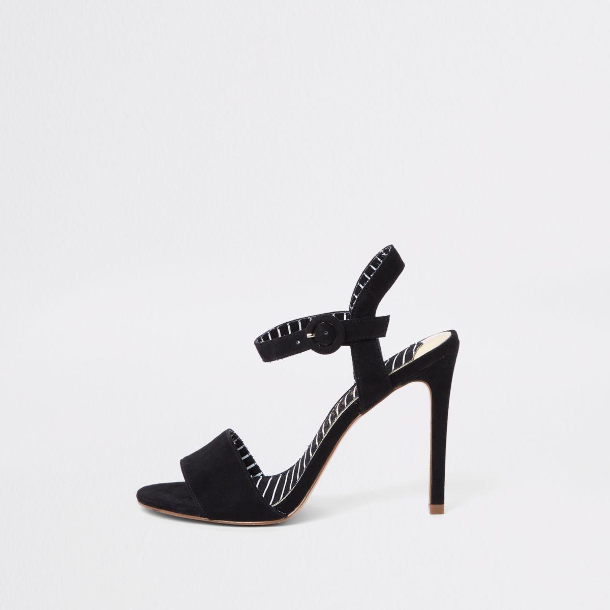Zwarte tweedelige sandalen met brede pasvorm en stilettohak