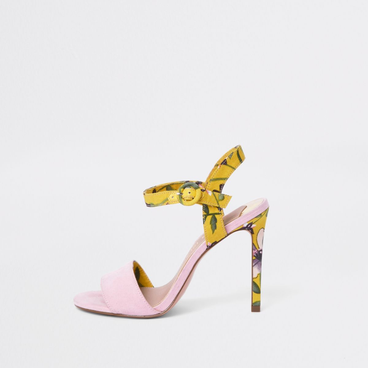 Pink wide fit floral two part heeled sandals