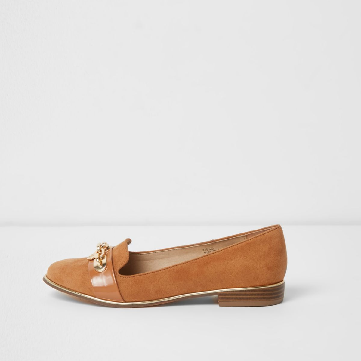 Tan chain front slippers