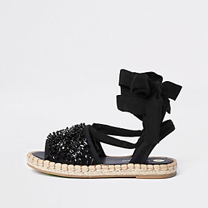 Black tie up sequin embellished espadrilles