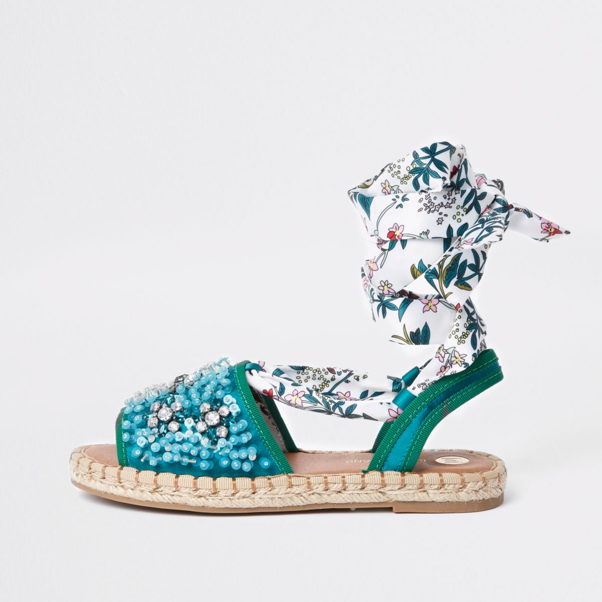 Green tie up sequin embellished espadrilles