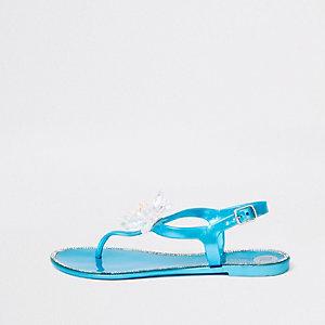 Sandales en plastique bleues à fleurs en bijoux fantaisie