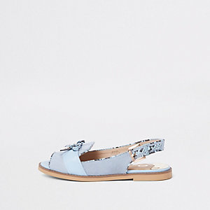 Light blue snake trim sling back loafers