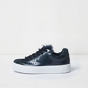 Navy faux fur tongue glitter lace-up trainers