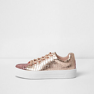 Rose gold metallic glitter lace-up trainers