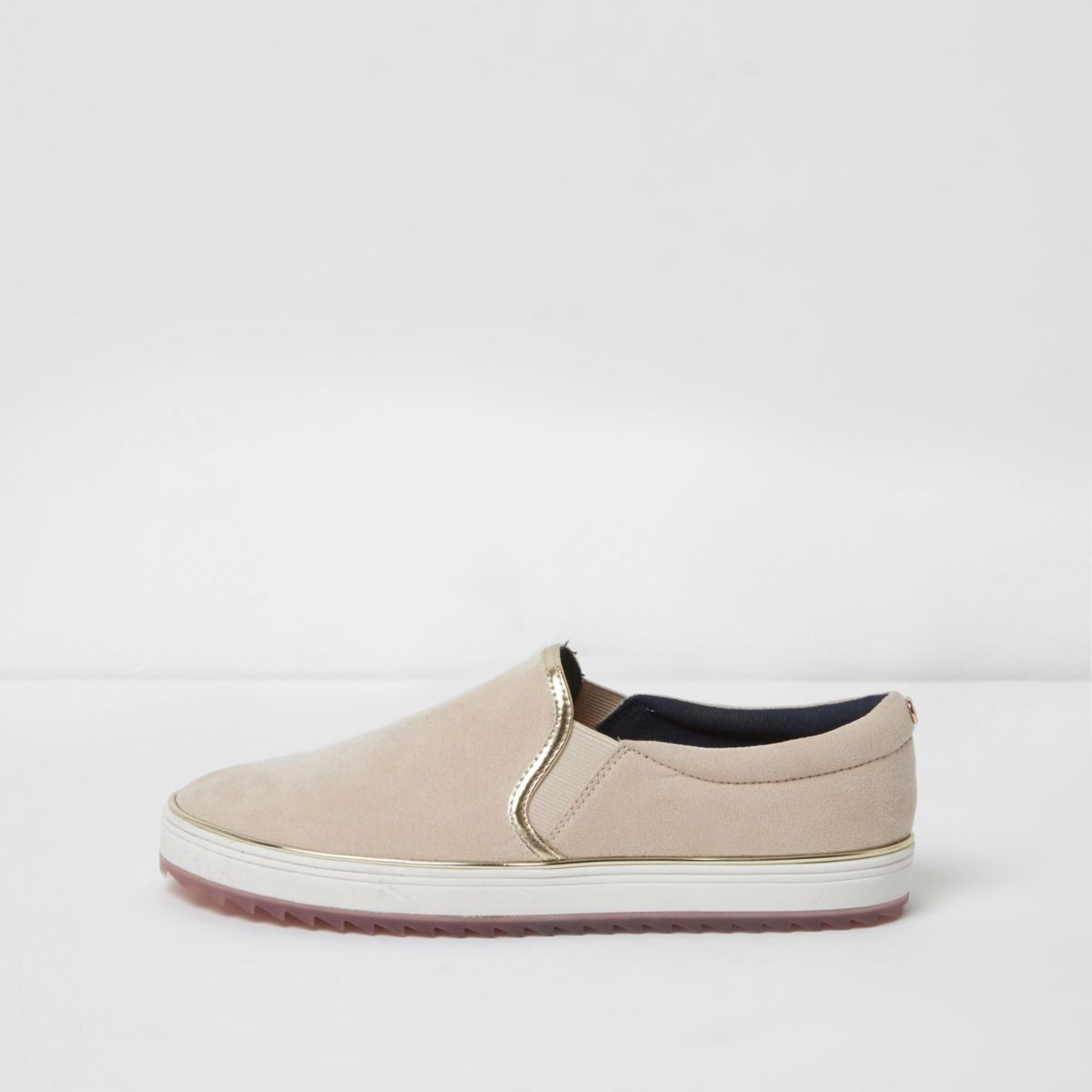 Womens Light Brown slip on plimsolls River Island