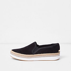 Black espadrille heatseal slip on plimsolls