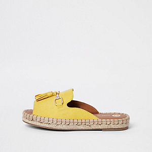 Yellow backless espadrille loafers