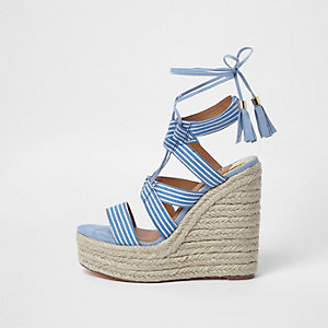 Blue stripe tie-up espadrille wedges