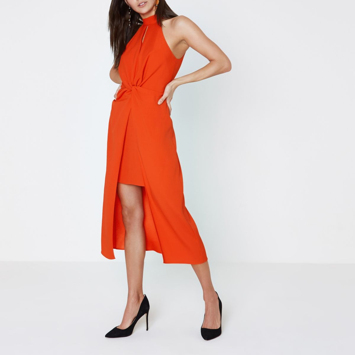 Bright orange halter neck knot midi dress