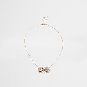 Rose gold tone double filigree coin necklace