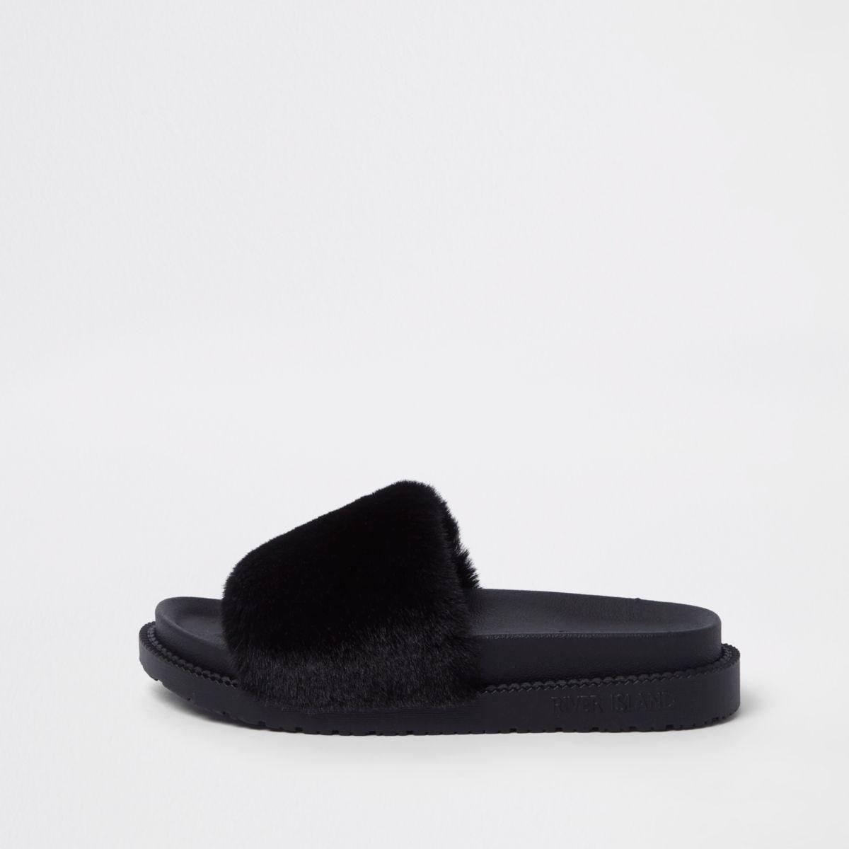River Island Faux Fur Sliders supply sale online cheap sale footlocker finishline BJm6n