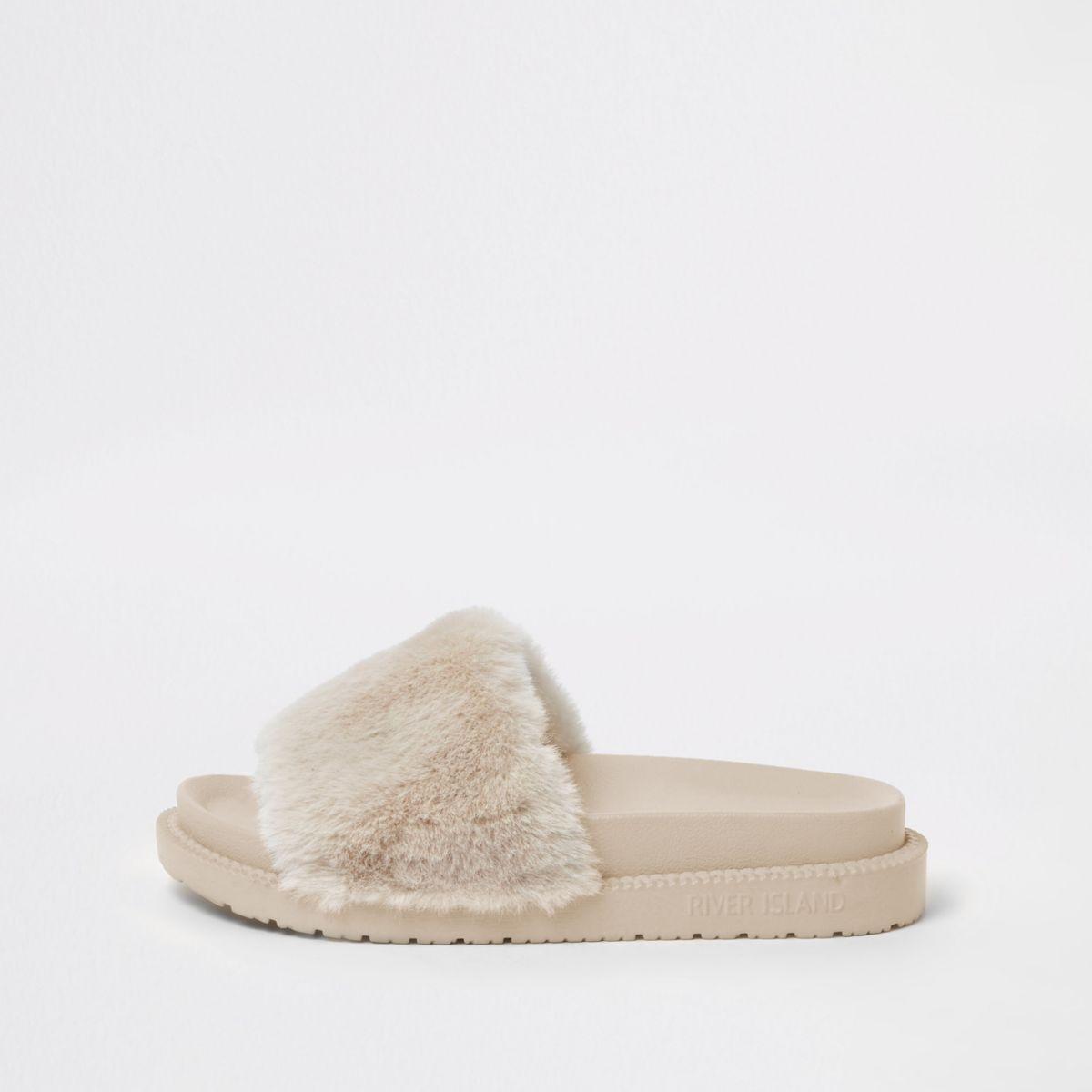 Cream faux fur sliders