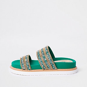 Green double chain detail strap sandal
