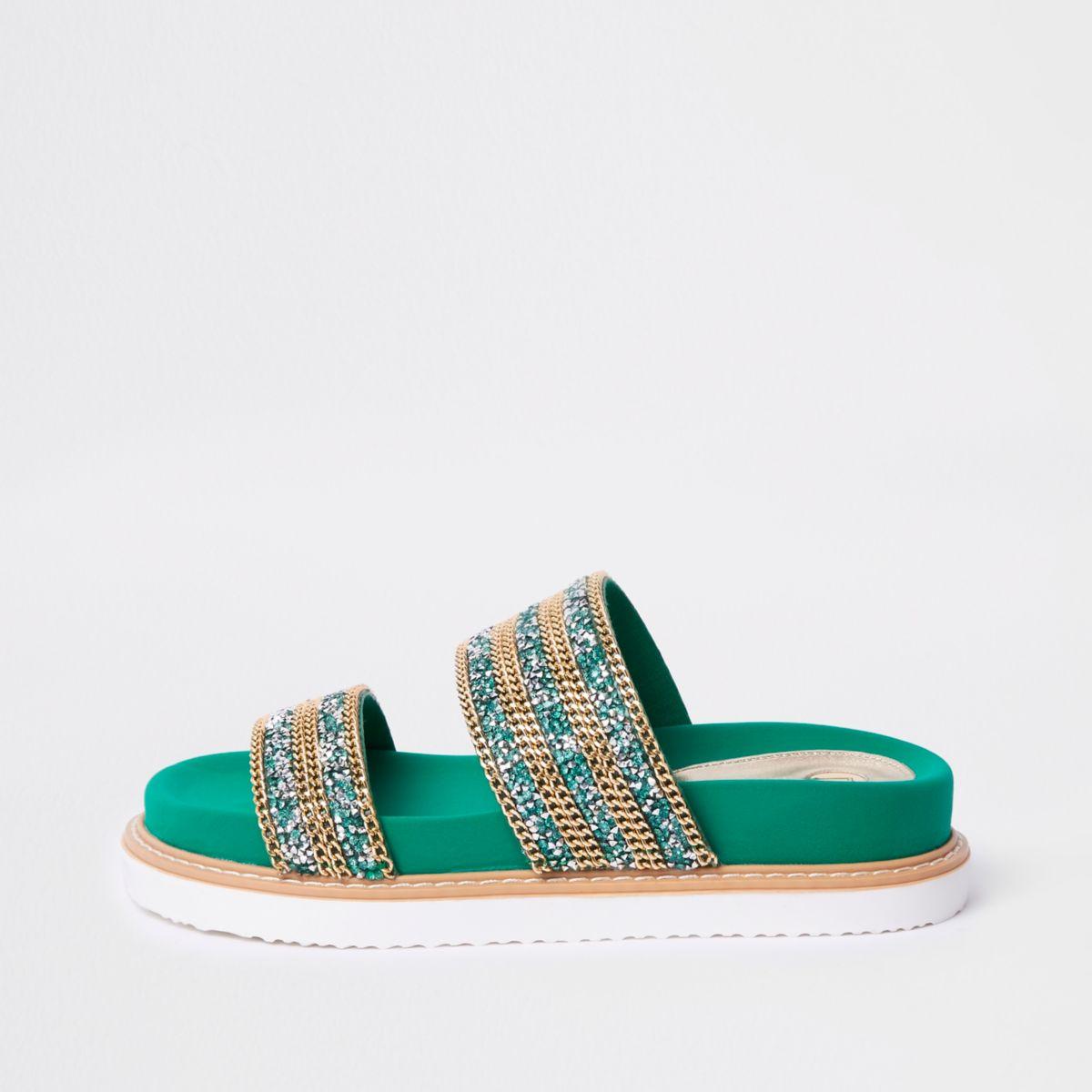 Green double chain detail strap sandal