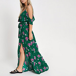 RI Petite - Groene maxi-jurk met bloemenprint en knopen