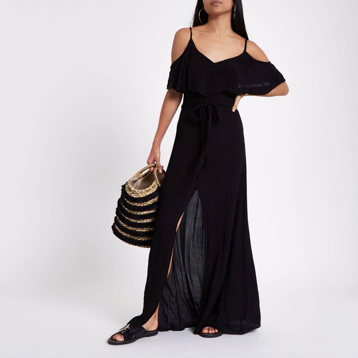 Petite black cold shoulder frill maxi dress