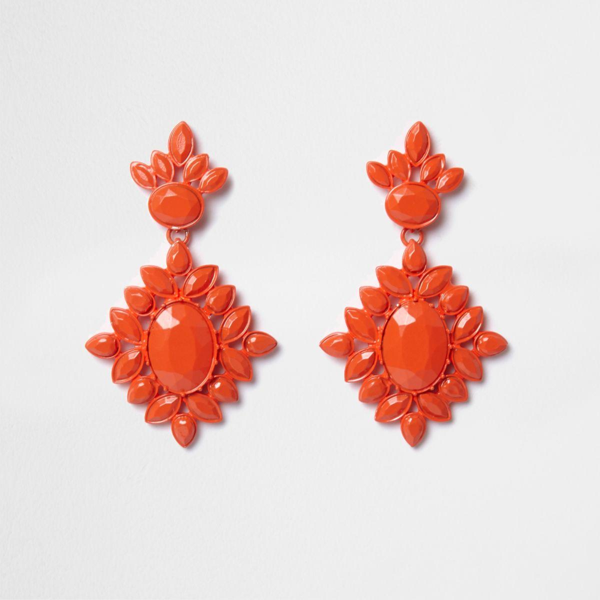 Orange jewel encrusted drop earrings