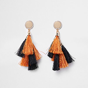 Orange tassel drop earrings