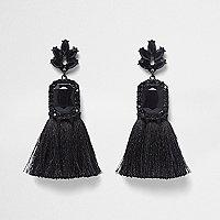 Black rectangle jewel tassel earrings