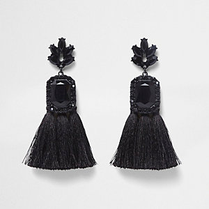 Black rectangle jewel tassel earrings