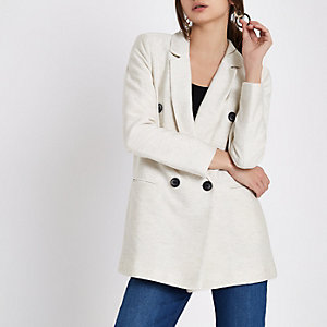 Crème naturel double-breasted blazer