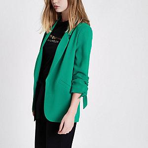 Green ruched sleeve blazer