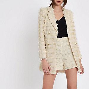 Zweireihige Jacke in Creme mit Fransen