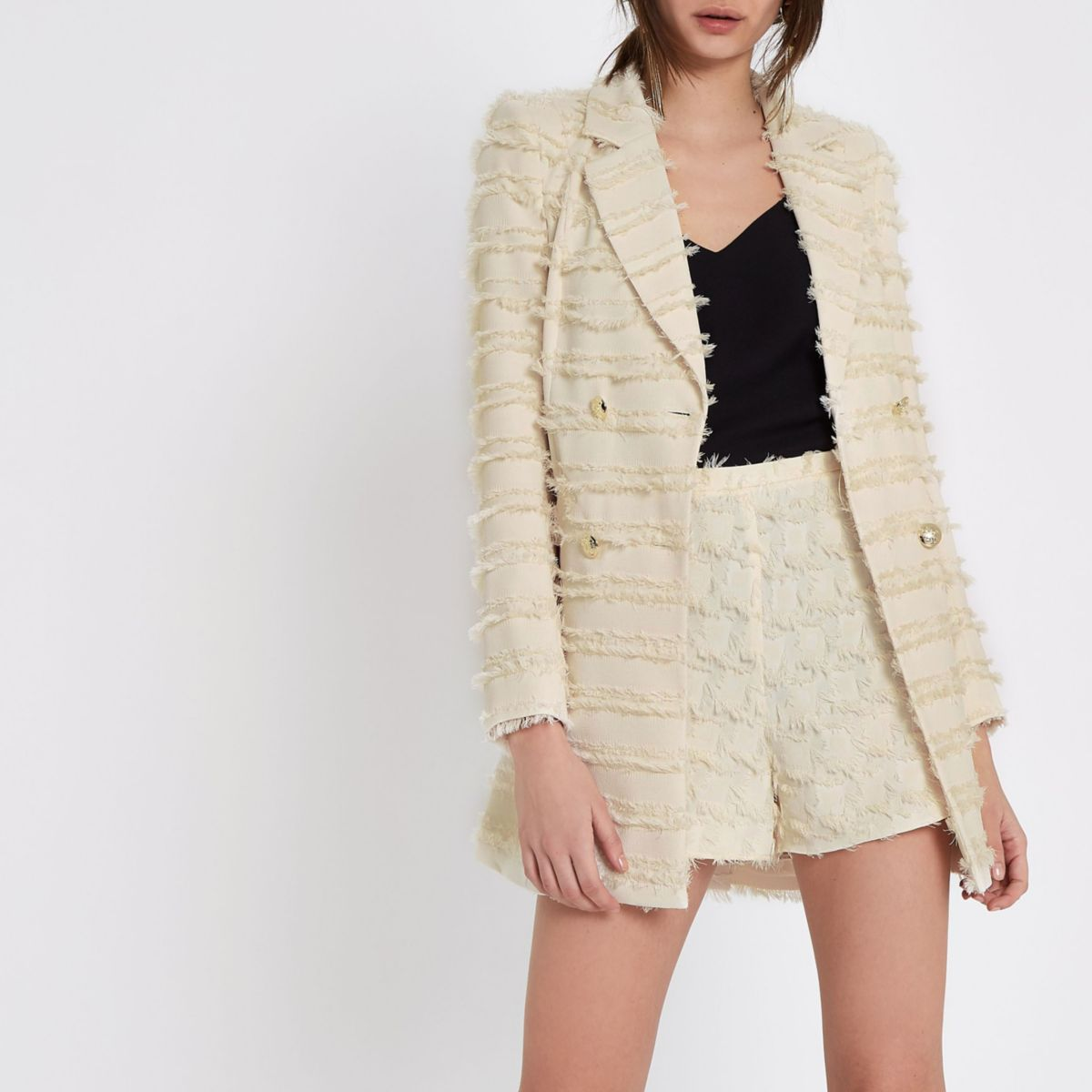 Cream fringed double breasted jacket