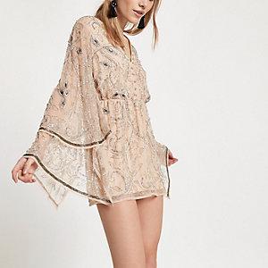 Petite cream embellished kimono romper