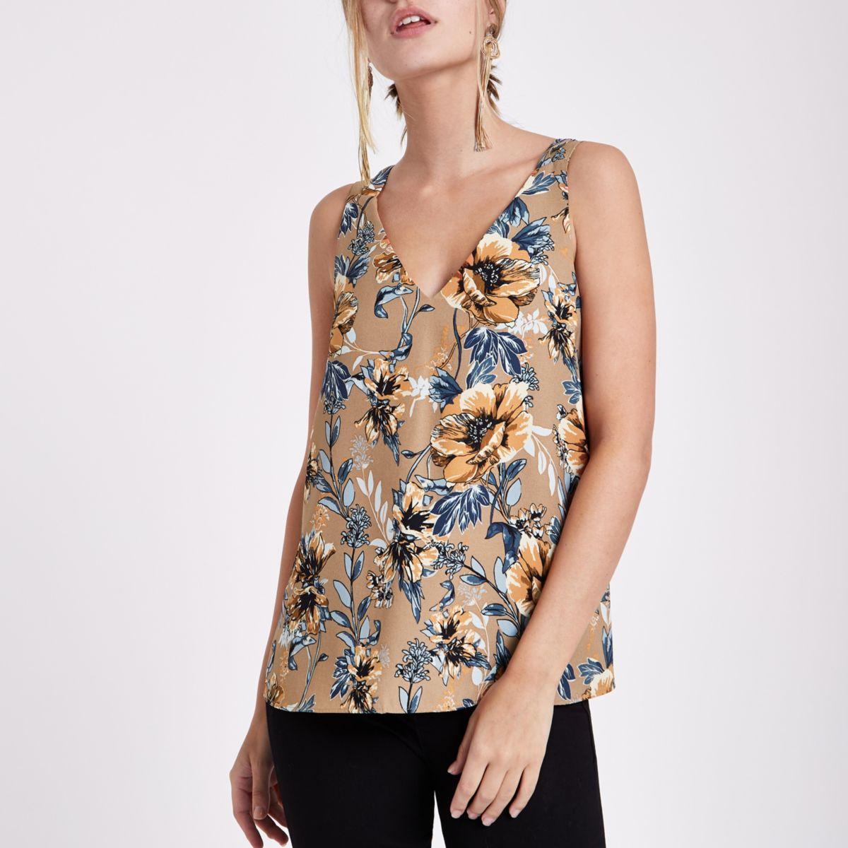 Petite brown floral print cross strap vest
