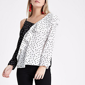 Petite polka dot block asymmetric frill top
