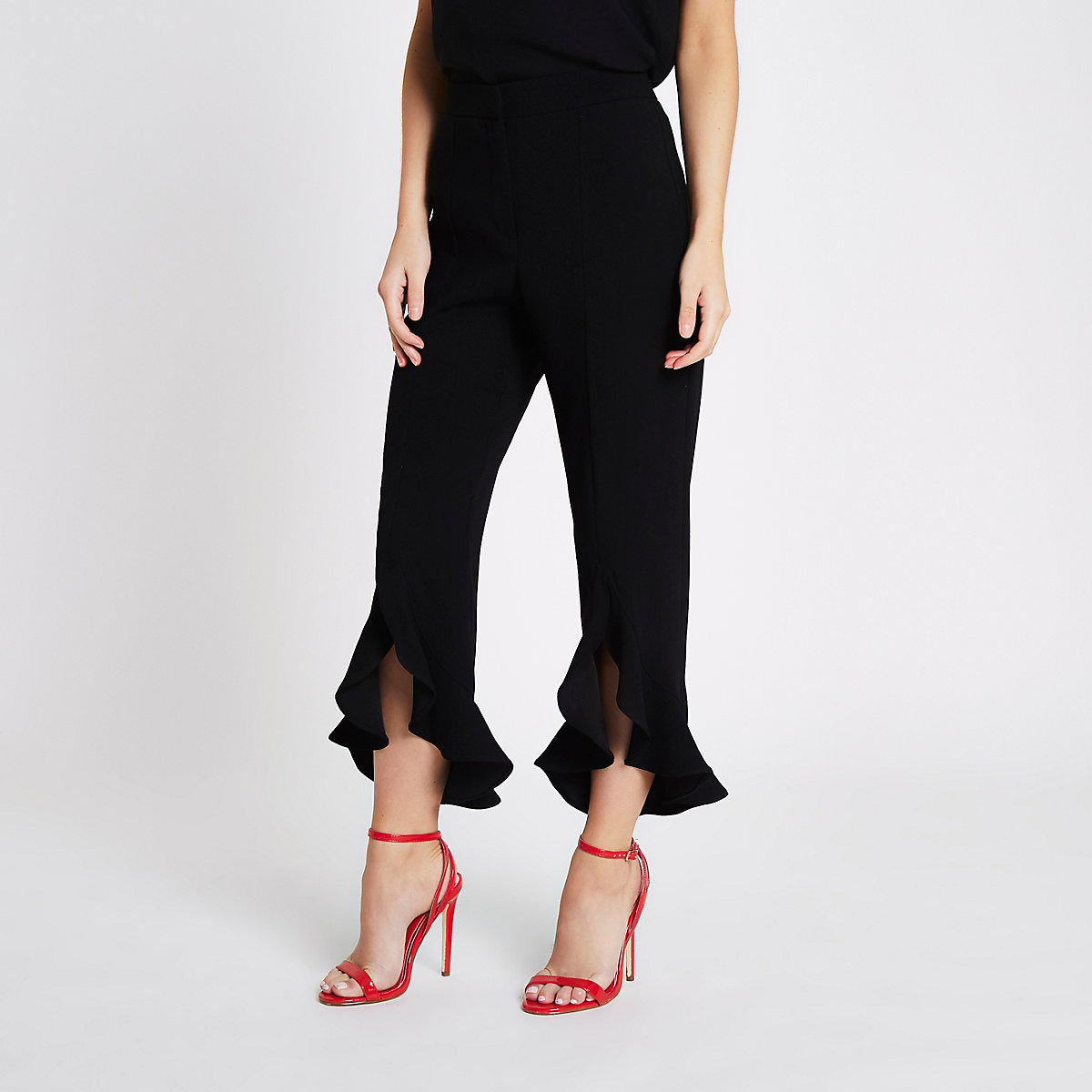 Petite black split frill hem pants