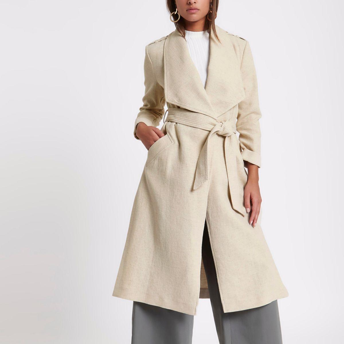 Beige tie waist duster trench coat