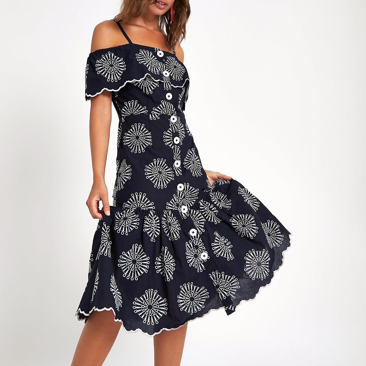 Navy embroidered button through cami dress