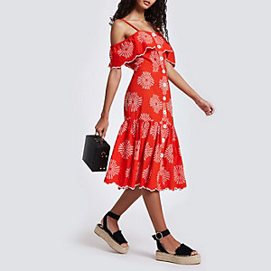 Red embroidered button through cami dress