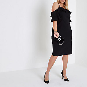 Plus black frill cold shoulder bodycon dress
