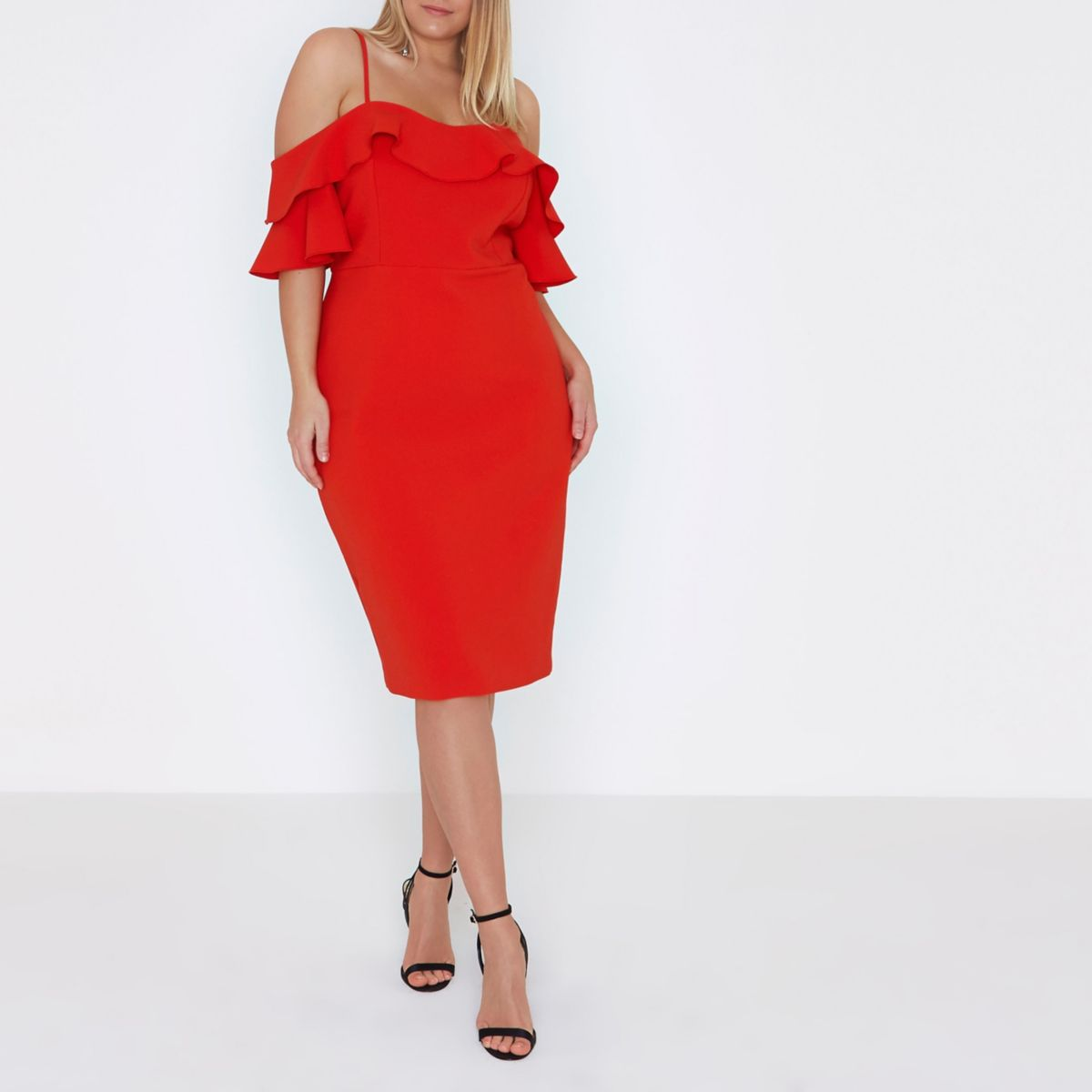 Plus red frill cold shoulder bodycon dress