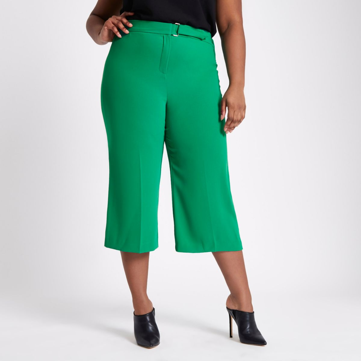 Plus green belted culottes