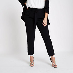 Plus black tie waist tapered trousers