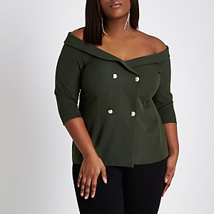 Plus khaki green double breasted bardot top