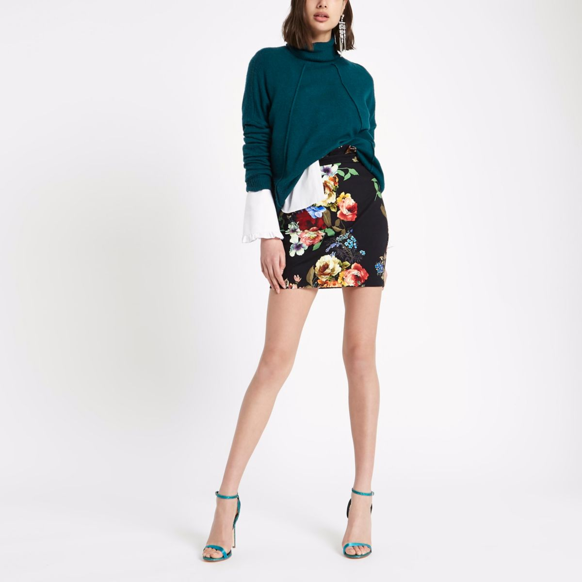 Black floral paperbag mini skirt