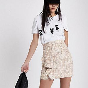 Beige frill boucle knit mini skirt
