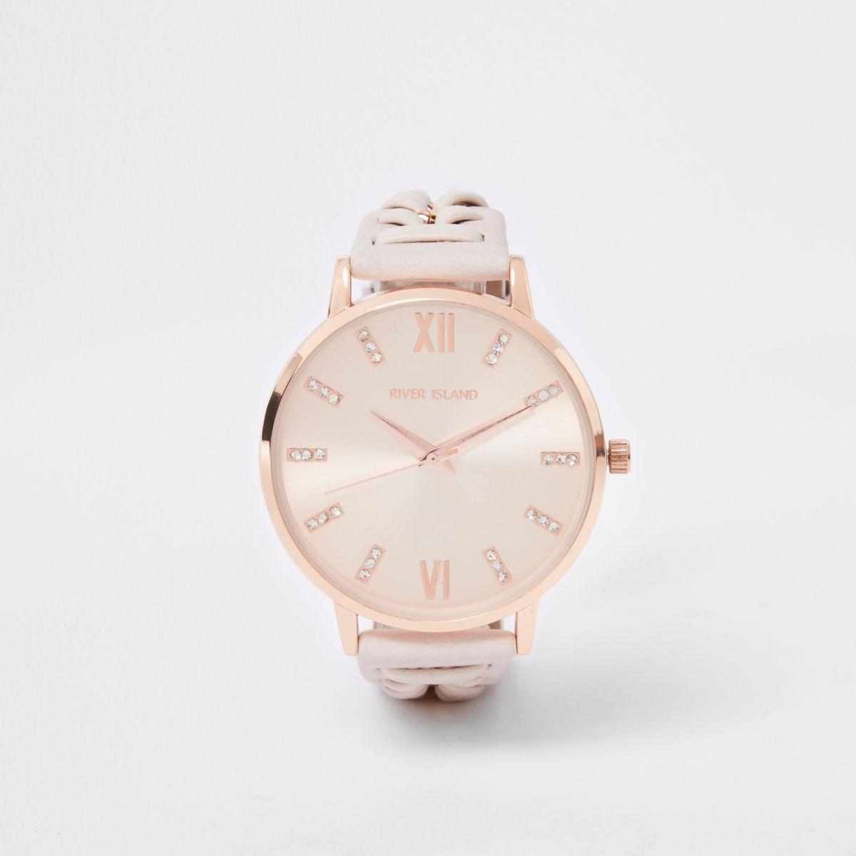 Cream woven chain watch