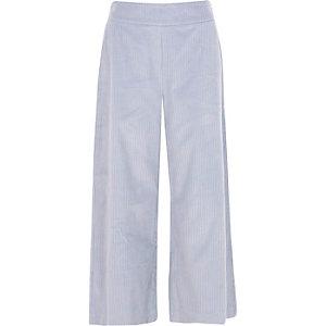 Jupe-culotte en velours côtelé bleu clair