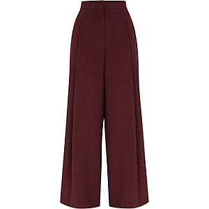 Burgundy side stripe wide leg pants