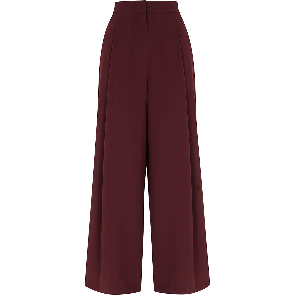 Burgundy side stripe wide leg trousers