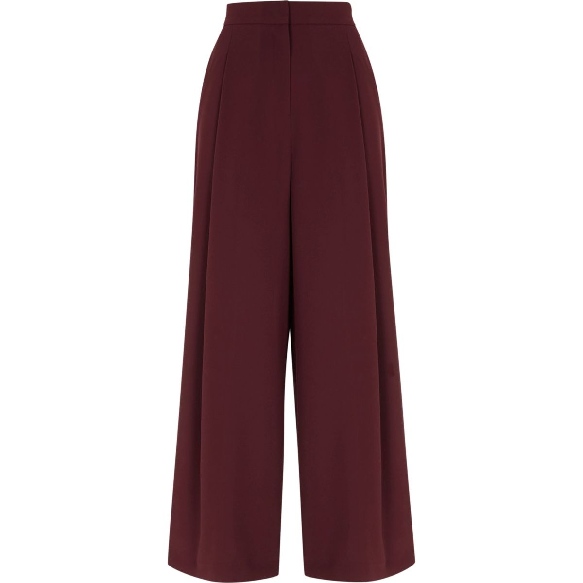 Burgundy side stripe wide leg trousers - Trousers - Sale ...